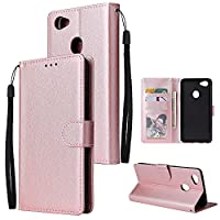 電話のフリップカバー Oppo F7の財布ケース、プレミアムPUレザーウォレットケース[手首ストラップ] ID&クレジットカードポケットとオフF7のフリップフォリオ .保護カバーケーススキン (Color : Pink)