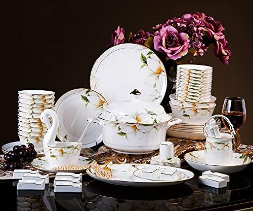 DYR 60pcs Juego de vajillas de cerámica Jingdezhen, Platos de Cuenco de arroz de Hueso de Lirio, Conjunto de Servicios de Cena de combinación de Abajo para 10 Personas Microondas y Horno Caja Fuerte