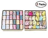 Tiscen Aufbewahrungsbox für Unterwäsche, Schublade Organizer Kleiderschrankschubladen Divider für Socken, BHS und Krawatten, Faltbox Stoffbox für Schrank, 2er Set (Beige)