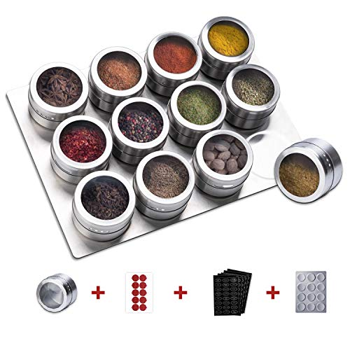 SZILBZ Magnetic Spice Tins with Stainless Steel Base, Small Herb Tins Container With Spice Labels, Magnetic Spice Jar With Clear Lid And Holes Sift&Pour - Easy To Clean