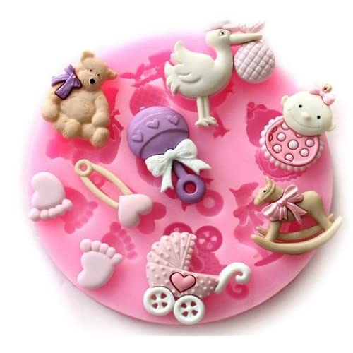 Amazon.com: Allforhome(TM) Sugarcraft Cute Baby shower Baby Feet Fondant and Gum Paste Silicone Resin Candy Sugar Craft Moulds Cake Decoration Molds Tool: ...