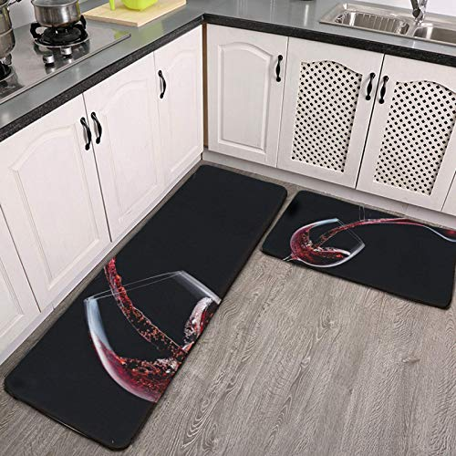 Kitchen Rug Set of 2 Non Skid Red Wine is Poured into a Wine Glass on Black Personalized Machine Washable Kitchen Rugs and Mats Set Kitchen Runner Mat Rug Indoor Outdoor Entrance Way Rug Floor Carpet