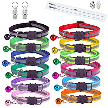 Extodry 14 Pack Reflective-Breakaway Cat Collars with Bells,Safety Buckle Kitten Collar,with Name Tag,Adjustable,Ideal for Girl Cats Male Cats,Pet Supplies,Stuff,Accessories 12 Colors & 2 ID Tags