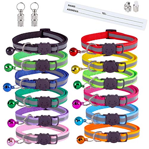 Extodry 14 Pack Reflective-Breakaway Cat Collars with Bells,Safety Buckle Kitten Collar,with Name Tag,Adjustable,Ideal for Girl Cats Male Cats,Pet Supplies,Stuff,Accessories(12 Colors & 2 ID Tags)
