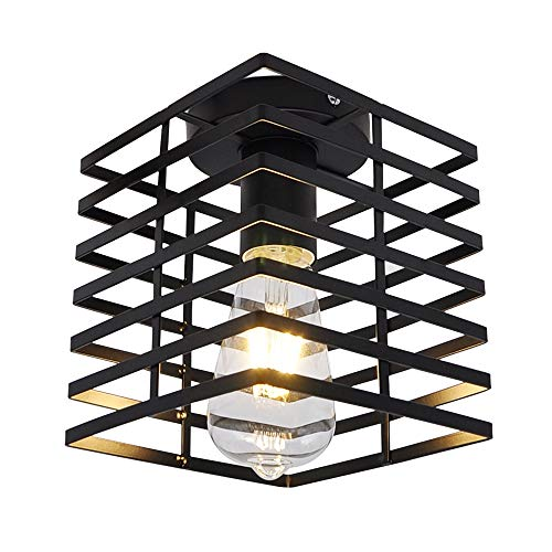 Luz de techo negra pintada para iluminación nocturna de pasillo con jaula de metal, lámpara de techo simple de montaje en superficie antióxido con bombilla led para escalera de baño Artpad