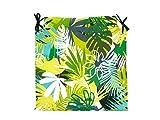 TIENDA EURASIA® Pack de 4 Cojines para Sillas - Estampado Selva Tropical - 2 Cintas de Sujeción - Ideal para Interiores y Exteriores - 40 x 40 x 3 cm (Verde)