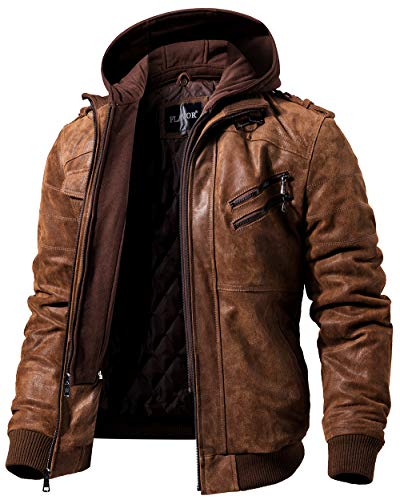 FLAVOR Men's Leather Motorcycle Jacket with Removable Hood Brown Pigskin (Medium Tall, Brown)