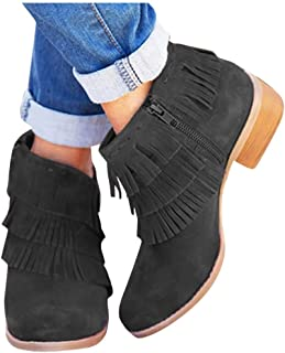 Women's Fringe Short Ankle Booties Retro Closed Toe Zip Up Boots Comfy Low Heel Combat Style Closed Toe Outdoor Western Shoes