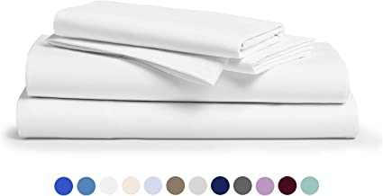 Comfy Sheets 100% Egyptian Cotton Sheets - 1000 Thread Count 4 Pc King White Bed Sheet with Pillowcases, Premium Hotel Quality Fits Mattress Up to 18'' Deep Pocket.