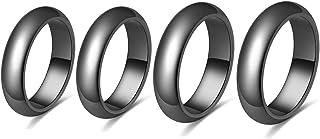 YOOES82 هيماتايت خاتم خاتم مغناطيسي هيماتايت حجر خواتم للنساء الرجال التيتانيوم المغناطيسي الدائري العلاج