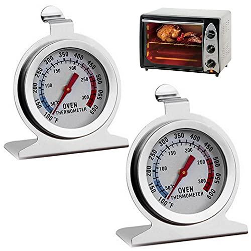 2 Stück Ofenthermometer, 100~600°F/50~300℃ Ofen Große Dial Thermometer Braten und Grillthermometer Überwachung Backofenthermometer aus Edelstahl der Classic-Serie für das Kochen in der Küche Backen