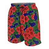 927 Youth Casual Board Shorts Quick Dry Summer Surf Beach Pants Swim Trunks for Girls Boys Red Hibiscus Syriacus - Rose of Sharon On Navy