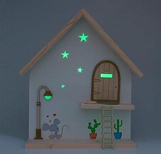 Casa Topolino dei denti in legno fatta a mano. Brilla nell'oscurità. Porta, lampione e scala in legno da dipingere e perso...