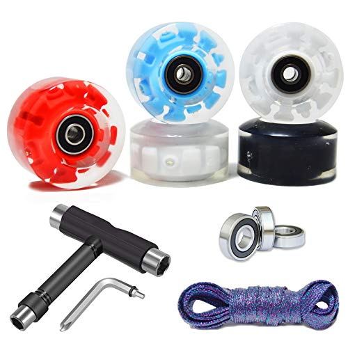 VNAKER 8Pcs Light Up Roller Skate Wheels with Tool Kit- Luminous Quad Roller Skate Wheels (Colorful-2)