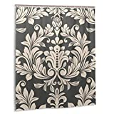 Duschvorhang, Dunkelbraun & beige Vintage Tapetenmuster Vektor-Illustration. Badvorhang Set mit Haken