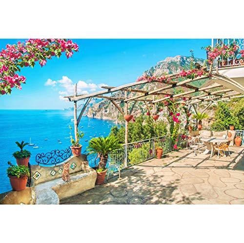 Cassisy 3x2m Vinyl Meer Fotohintergrund Dorfgarten Blue Sea Yacht Berg Blumentopf Sunny Sky Fotoleinwand Hintergrund für Fotoshooting Fotostudio Requisiten Party Photo Booth
