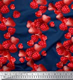 Soimoi Blau Baumwolle Batist Stoff Himbeere, Erdbeere und