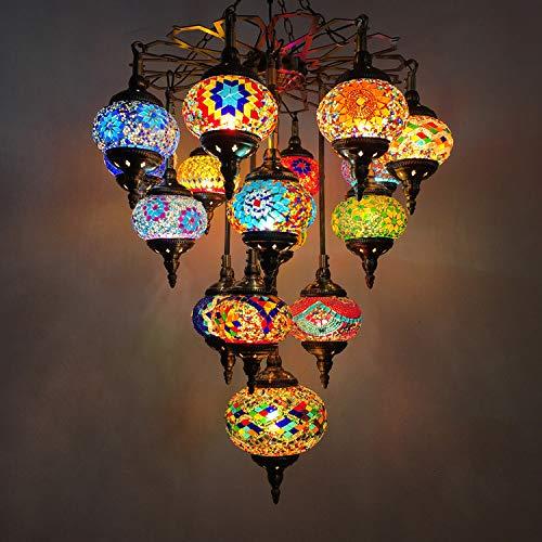 W&HH Mosaico marroquí Lámpara de lágrimas Multicolor Láves de lágrima de Cristal Manchado Luz de Colgante Nacional Romántico Iluminación Colgante para Restaurante Bar Comedor Cafe