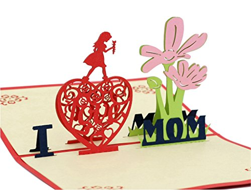 Price comparison product image IShareCards Handmade 3D Pop Up Mother's Day Greeting Cards Thank You Cards for Mom - I Love MOM