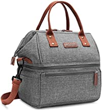 Lokass Lunch Bags for Women Wide Open Insulated Lunch Box With Double Deck Large Capacity Cooler Tote Bag With Removable Shoulder Strap Lunch Organizer For Men/Outdoor/Work(Grey)
