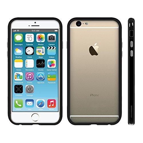kwmobile Bumper Compatibile con Apple iPhone 6 / 6S - in Silicone TPU con Pulsanti Alluminio - Protezione Bordi Smartphone - Nero