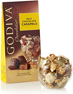 Godiva Chocolatier Wrapped Milk Chocolate Caramels, Great for Gifting, Chocolate Candy, Chocolate Caramel Treats, Caramel Chocolate, 19 pc