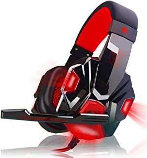 Headphones,pc headphones - Over Ear Gaming Headset with Mic and LED Light for Laptop Cellphone PS4 red