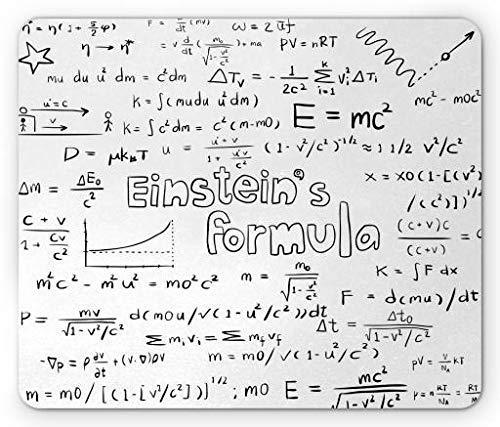 Alfombrilla de ratón de Ciencia, Estilo de Escritura a Mano de Cultura Nerd Geek física matemática fórmula educativa, Alfombrilla Rectangular de Goma Antideslizante, tamaño estándar, Blanco Negro