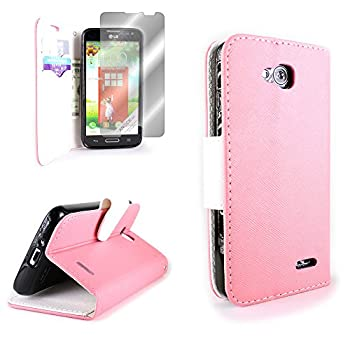 LG Optimus L90 Wallet Phone Case and Screen Protector | CoverON  CarryAll  Pouch Series | Tough Textured Exterior  Light Pink / White  Flip Stand Cover with Credit Card and Cash Holder Slots for LG Optimus L90 D415