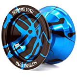 Supreme Yoyo Responsive Aluminum Yoyo Professional Yoyo with Extra Strings (Blue & Black)