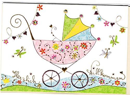 Glückwunschkarte zur Geburt - hochwertige Umschlag-Karte von Turnowsky, Herzlich Willkommen -Rosa Kinderwagen