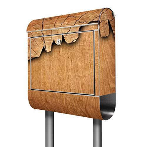 Banjado Briefkasten Edelstahl mit Ständer | Postkasten freistehend 146x36x14cm | Standbriefkasten mit Zeitungsfach und Namensschild Motiv Holz