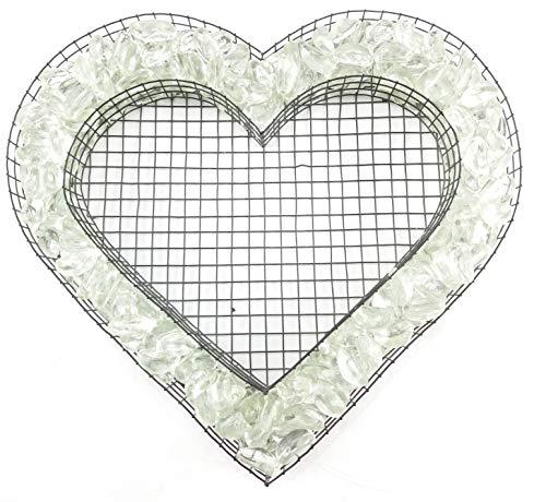 Gartenwelt Riegelsberger Herz Gitter mit kleinen Glasnuggets Transparente (farblos) für Allerheiligen Grabschmuck Herz-Gitter Grabgestaltung Grabdeko Pflanzschale Herzgitter