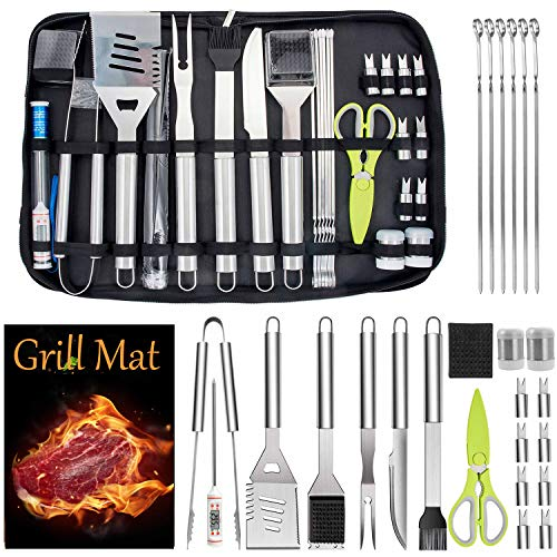 Leonyo 27PCS BBQ Grill Accessories in Case, Heavy Duty Stainless Steel Barbecue Grilling Tools Set for Kitchen Outdoor Cooking Camping Smoking, Dishwasher Safe, Portable Bag, Gift for Men Women