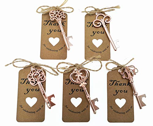 50pcs Skeleton Key Bottle Opener Wedding Party Favor Souvenir Gift with Escort Tag and Jute Rope(Rose Golden Tone,5 styles)