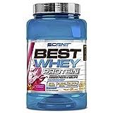 Best Whey Protein - 100% proteína de suero de leche, proteína en polvo con aminoácidos para el desarrollo muscular - 908 g (Fresa con nata)