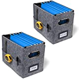 Desktop Collapsible File Storage Organizer with Storage Pockets   Hanging File Box for Letter Size File Folders   Smooth Sliding Rails   Perfect for Home Office   Premium Office Goods (Grey, 2-Pack)