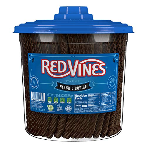 Red Vines Twists, Black Licorice Flavor, 3.5LB Bulk Tub, Old Fashioned Soft & Chewy Candy