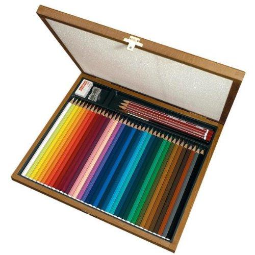 Aquarelstift, STABILOaquacolor, houten cassette, cadeau met 36 kleuren, 3 potloden HB, 1 gum, 1 puntenslijper, 1 penseel