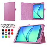 Asng Samsung Galaxy Tab A 8.0 2015 Case - Slim Folding Cover Case with Auto Wake/Sleep and Stylus Pen Loop for Galaxy Tab A 8.0 Tablet SM-T350 2015 Release (NOT FITS 2017 Tab A 8.0) (Pink)