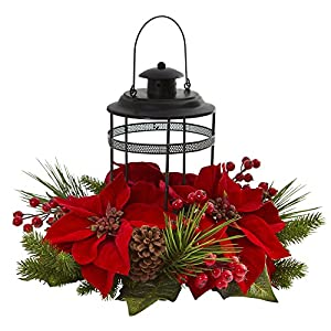Nearly Natural Poinsettia Berry Pine Artificial Candelabrum Silk Arrangements, Red