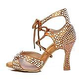 AOQUNFS Women Rhinestone Ballroom Dance Shoes Latin Salsa Practice Professional Performance Dancing Shoes,Model YCL452-Brown-6,US 7.5