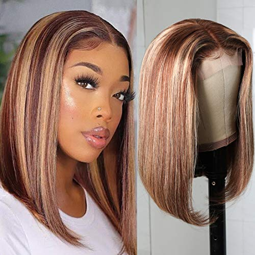 UNice Hair Ombre Blonde Human Hair Wig Bob for Black Women Brazilian Remy Hair Highlight Colored Short Fake Scalp T part Closure Bob Wig Middle Part Pre Plucked with Baby Hair 14 inch