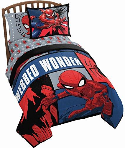 Jay Franco Marvel Spiderman Webbed Wonder 5 Piece Twin Bed Set - Includes Comforter & Sheet Set - Bedding Features Spiderman - Super Soft Fade Resistant Polyester - (Official Marvel Product)