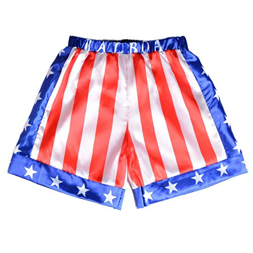 Kids Shorts Boys Boxing Trunks Rocky Balboa Cosplay American Flag Costume Youth Boxers Casual Pants Apollo Movie Child Workout Clothing Satin Exercise Training (Red, Large)