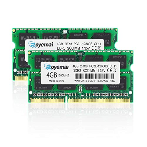 DUOMEIQI PC3-12800 8GB DDR3 Kit (2X4GB) DDR3 1600MHz PC3L 12800S 2RX8 1,35V CL11 204-pin SODIMM Arbeitsspeicher für Laptop