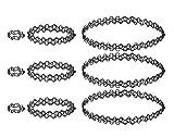 4U Tattoo Choker Sets, Collar/Gargantilla, pulsera/tobillera, anillos para niñas, mujeres y niñas (Modeschmuck Bijouterie negro)