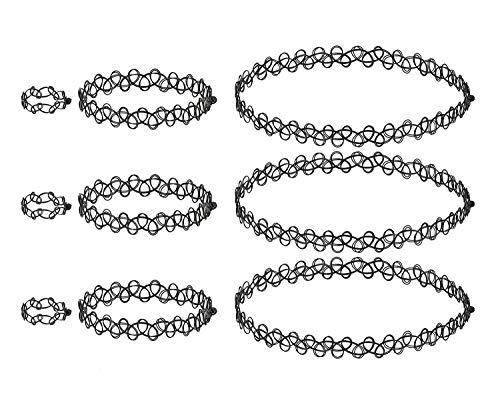 4U Tattoo Choker Sets, Halsketten/Kropfband, Armband/Fußkettchen, Ringe f. Mädchen Frauen Mädel Kinder (Modeschmuck Bijouterie schwarz)