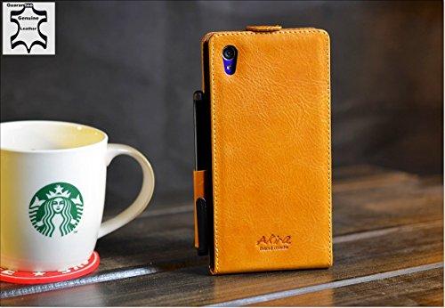 URCOVER® Custodia portafoglio Xperia Z1 | Protettiva Akira Fatta a Mano | Wallet Case Flip Cover in Vera Pelle marrone con pennino | Cuoio Artigianale Elegante Business Premium