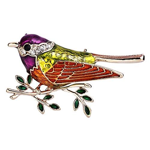 EVER FAITH österreichisch Kristall bunt Emaille Cute Sparrow Vogel Tier Brosche Klar Gold-Ton